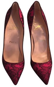 Christian Louboutin Hot Pink/Black Lace Pumps
