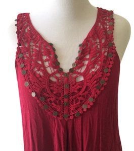 Other short dress Red Boho Boho Midi Lace Embellished on Tradesy