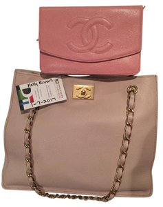 Chanel Rosegold Rose Gold Pink Caviar Tote in Blush pink