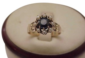 Other Victorian Enameled 12K Rose Gold Genuine 1.00ct Sapphire & Genuine Seed Pearls Ring, late 1800s