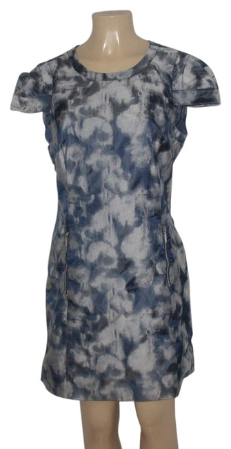 Item - Navy/Grey New Without Tags Blue/Grey Tie Dye Patterns Zipper Detail Above Knee Cocktail Dress Size 12 (L)
