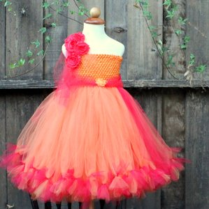 Red, Orange Custom Made Red Orange One Shoulder Tutu Dress - Fall Wedding Flower Girl Dress Dress