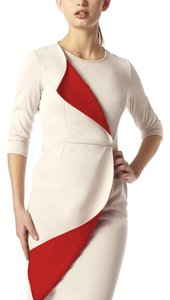 Emploi NY Color-blocking Beige Wrap Longsleeve Dress