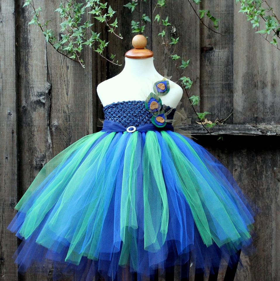 3c0ad5411 Blue Green Turquoise Golden Custom Made - Peacock Flower Girl Dress -  Peacock Theme Wedding ...