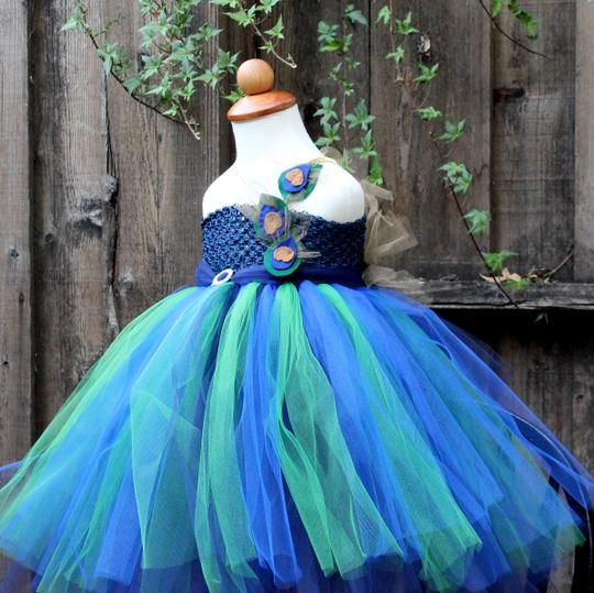 Blue Green Turquoise Golden Custom Made - Peacock Flower Girl Dress - Peacock Theme Wedding - Peacock Dress For Little Girls - Peacock Tutu Dress