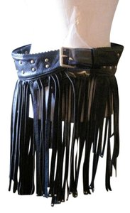 FRINGED VINTAGE BLACK BELT WITH BRASS ACCENTS