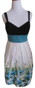 IZ Byer California short dress WHITE BLACK TEAL BLUE Floral Sweetheart High Waistband Lined Wide Strap on Tradesy