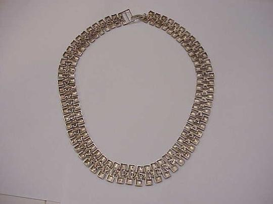 Other Ladies Vintage Estate Wide Heavy Sterling Silver Chain Necklace, 1940s Image 2