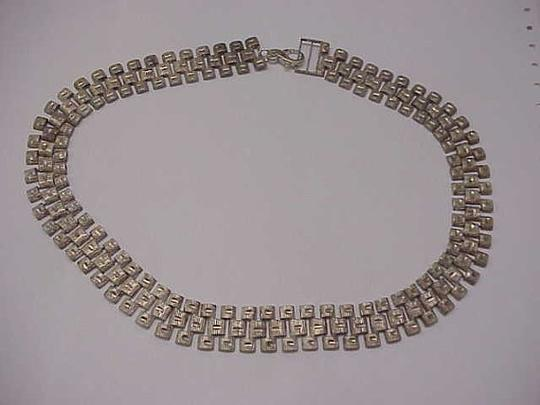 Other Ladies Vintage Estate Wide Heavy Sterling Silver Chain Necklace, 1940s Image 3