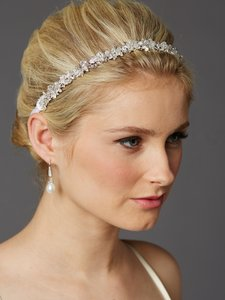 Mariell Slender Bridal Headband With Hand-wired Crystal Clusters And White Ribbons