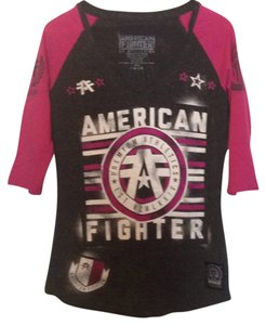 Affliction T Shirt Dark heathered grey with pink