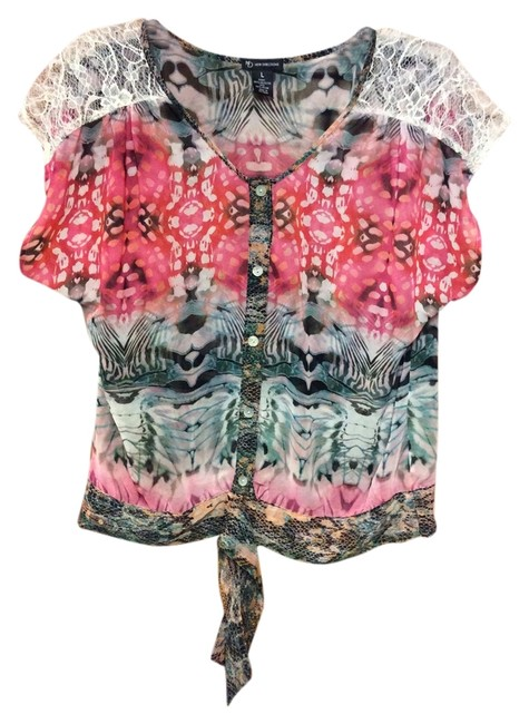 New Directions Sexy Lovely Design Seasons Wear Banded Bottom Top Pink Black Multi