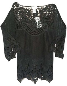 Soft Surroundings Crochet Lace Top Black