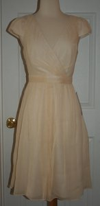 J.Crew Champagne Silk Mirabelle In Chiffon Formal Bridesmaid/Mob Dress Size Petite 2 (XS)