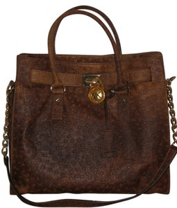 Michael Kors Ostrich Effect Hamilton Tote in brown