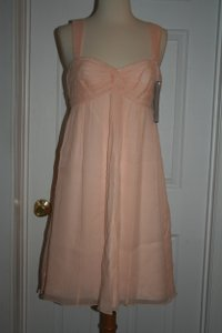 J.Crew Soft Peach Silk In Chiffon Formal Bridesmaid/Mob Dress Size 6 (S)