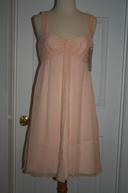 J.Crew Soft Peach Silk In Chiffon Formal Bridesmaid/Mob Dress Size 6 (S) J.Crew Soft Peach Silk In Chiffon Formal Bridesmaid/Mob Dress Size 6 (S) Image 1