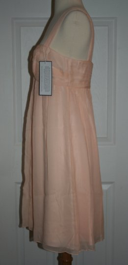 J.Crew Soft Peach Silk In Chiffon Formal Bridesmaid/Mob Dress Size 6 (S) Image 2