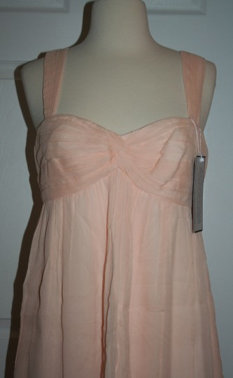 J.Crew Soft Peach Silk In Chiffon Formal Bridesmaid/Mob Dress Size 6 (S) Image 3