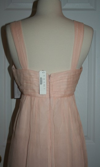 J.Crew Soft Peach Silk In Chiffon Formal Bridesmaid/Mob Dress Size 6 (S) Image 5
