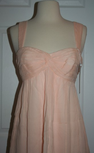 J.Crew Soft Peach Silk In Chiffon Formal Bridesmaid/Mob Dress Size 6 (S) Image 6