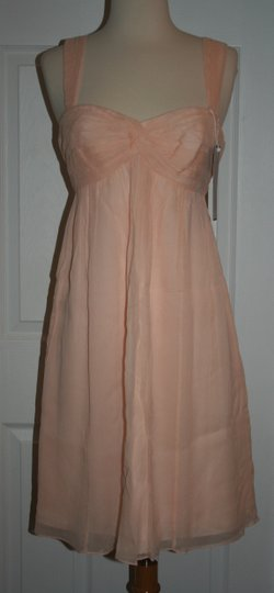 J.Crew Soft Peach Silk In Chiffon Formal Bridesmaid/Mob Dress Size 6 (S) Image 7