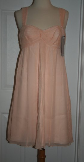 J.Crew Soft Peach Silk In Chiffon Formal Bridesmaid/Mob Dress Size 6 (S) Image 8