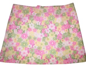 Lilly Pulitzer Mini Skirt Pink Green Yellow White