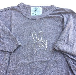 Peace sign graphic super-soft tee new large Hippy Asl Boho T Shirt Heather brown