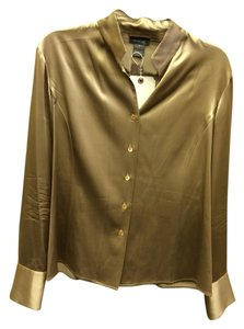 Lafayette 148 New York Blouse Silk Button Down Shirt Gold