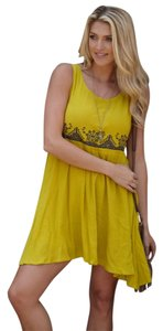 PinkBlush short dress Yellow Embroidered Navy on Tradesy