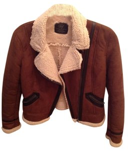 Zara Aviator Suede Fleece Brown Jacket