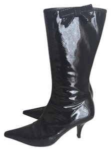 Miu Miu Patent Tall Pointy Toe Black Boots