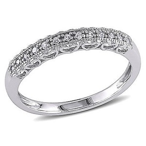 Amour 10k White Gold 110 Ct Diamond Vintage Stackable Heart Wedding Band Ring