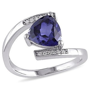 Amour Sterling Silver Created Blue Sapphire And Diamond Accent Bypass Ring