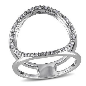Amour Sterling Silver Open Circle Diamond Ring G-h I2-i3