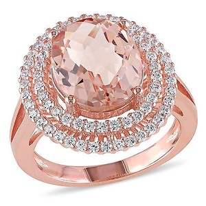 Amour Rose Pink Sterling Silver Simulated Morganite And Cubic Zirconia Ring