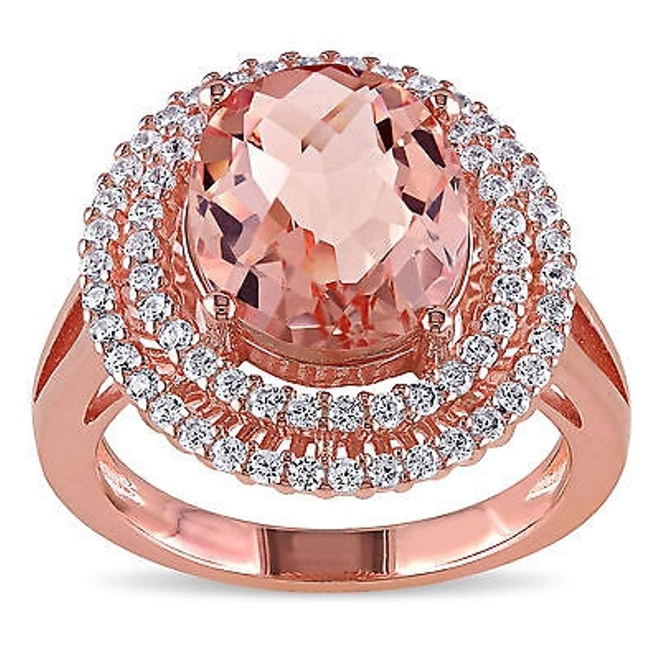 Rose Pink Sterling Silver Simulated Morganite And Cubic Zirconia ...