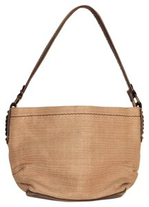 Fossil Vintage Woven Straw Leather Canvas Lining Ruched Satchel in Tan & Brown