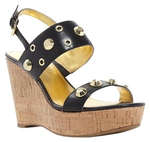 Ivanka Trump Studded Sandals Black Wedges