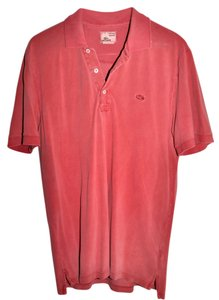 Lacoste Vintage Washed Polo Shirt Button Down Shirt Red