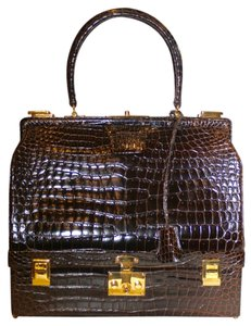 Hermès Crocodile Alligator Sac Mallette Jewelry Handbag BROWN Travel Bag