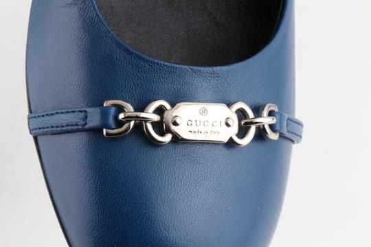 Gucci Horesbit Leather Blue Pumps Image 10