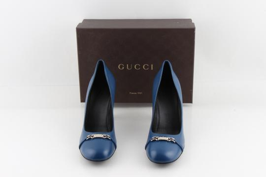 Gucci Horesbit Leather Blue Pumps Image 11