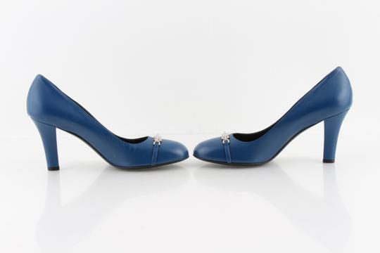 Gucci Horesbit Leather Blue Pumps Image 4
