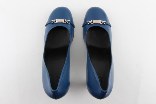 Gucci Horesbit Leather Blue Pumps Image 5