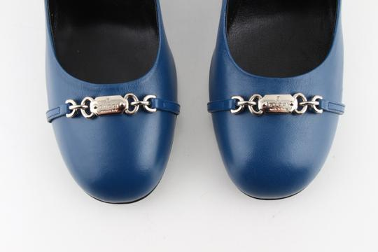 Gucci Horesbit Leather Blue Pumps Image 9