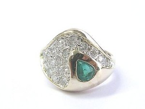 Fine Gem Green Emerald Diamond Yellow Gold Jewelry Ring 14kt 1.24ct