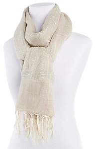Elizabeth Gillett Elizabeth Gillett Ecru Long Woven Scarf with Metallic Threads