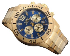 Invicta NEW Invicta Pro Diver 18k Gold IP SS Quartz Chronograph Blue Dial 45mm Mens Watch